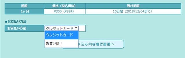 バックアップオプション支払方法選択画面