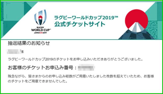 ラグビーワールドカップ2019チケット抽選結果メール