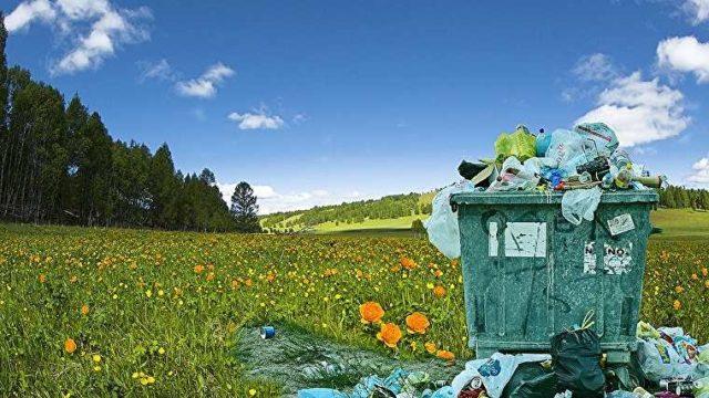 草原のゴミ箱
